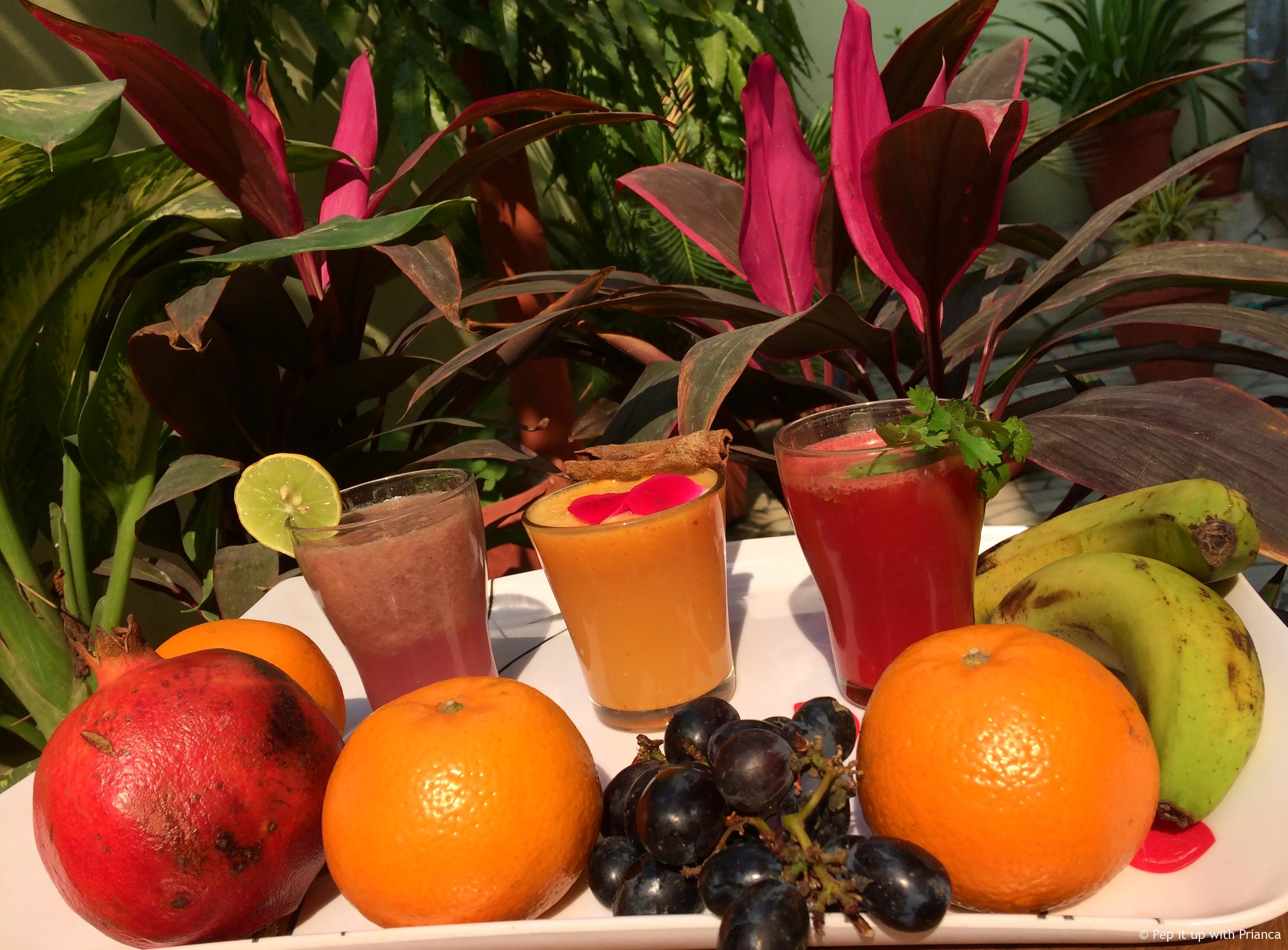 Homemade fresh juices