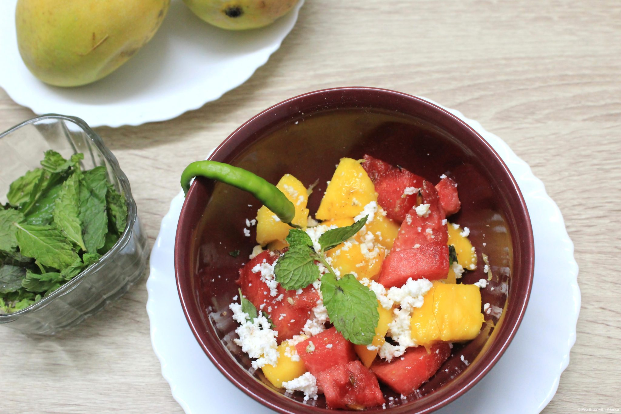 Sumptuous summer salad - Exotic cottage mango melon mint salad