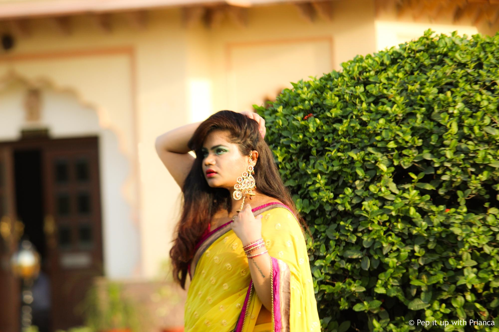 Yellow saree pep it up with prianca - This Diwali wear these 2 colors to bring home Wealth and Luck