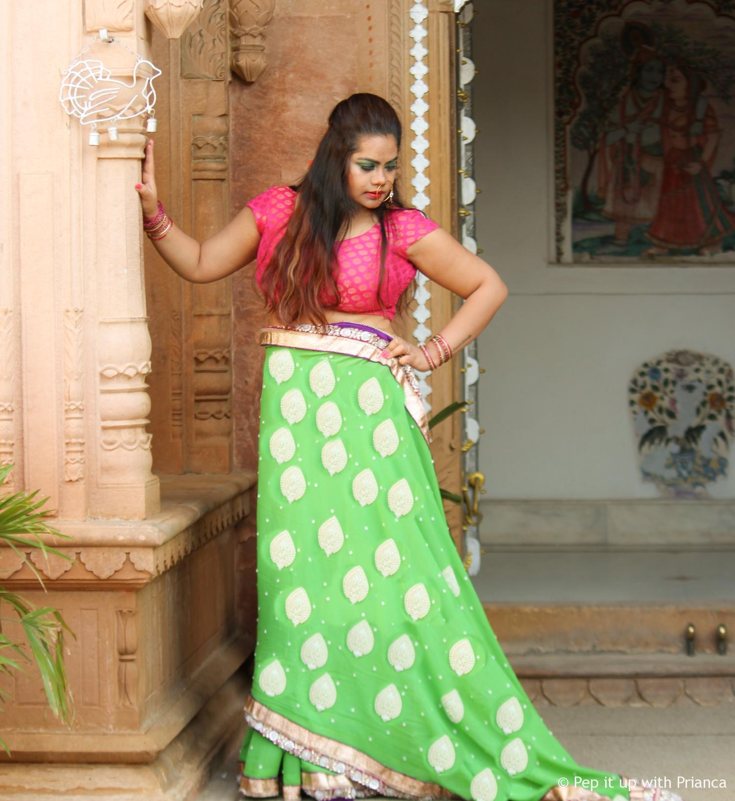 green saree  - This Diwali wear these 2 colors to bring home Wealth and Luck