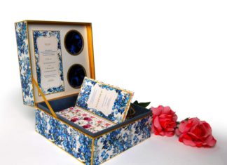 White Mirage Luxury wedding box floral invitation