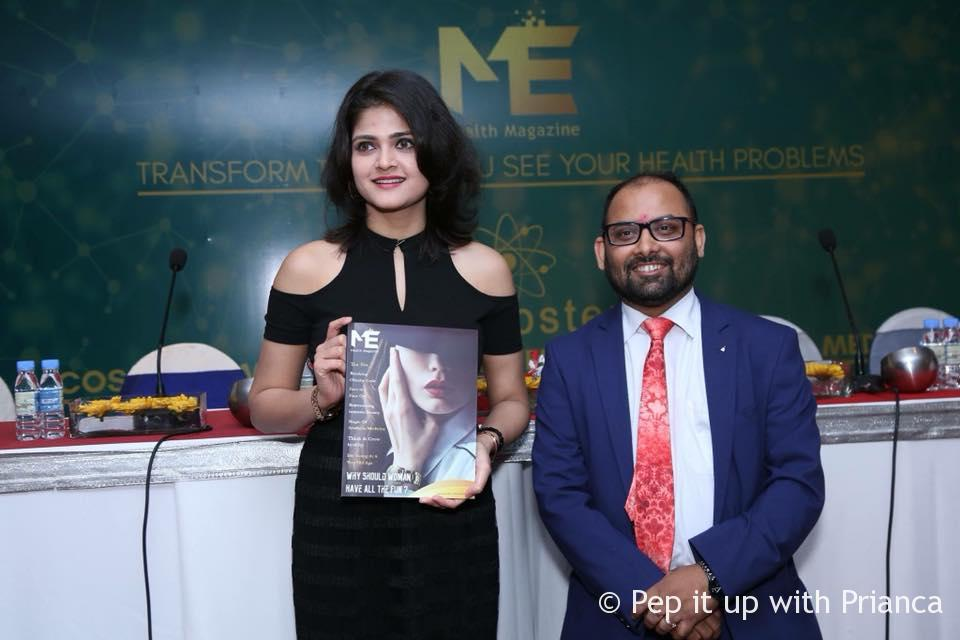 Dr. Prabhu mishra with Ankita miss India - India's First Anti-Ageing Health Magazine 'ME' launched by the Stem Genn Group