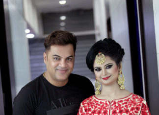 Tarun Kapoor with his model for bridal makeup 324x235 - Home