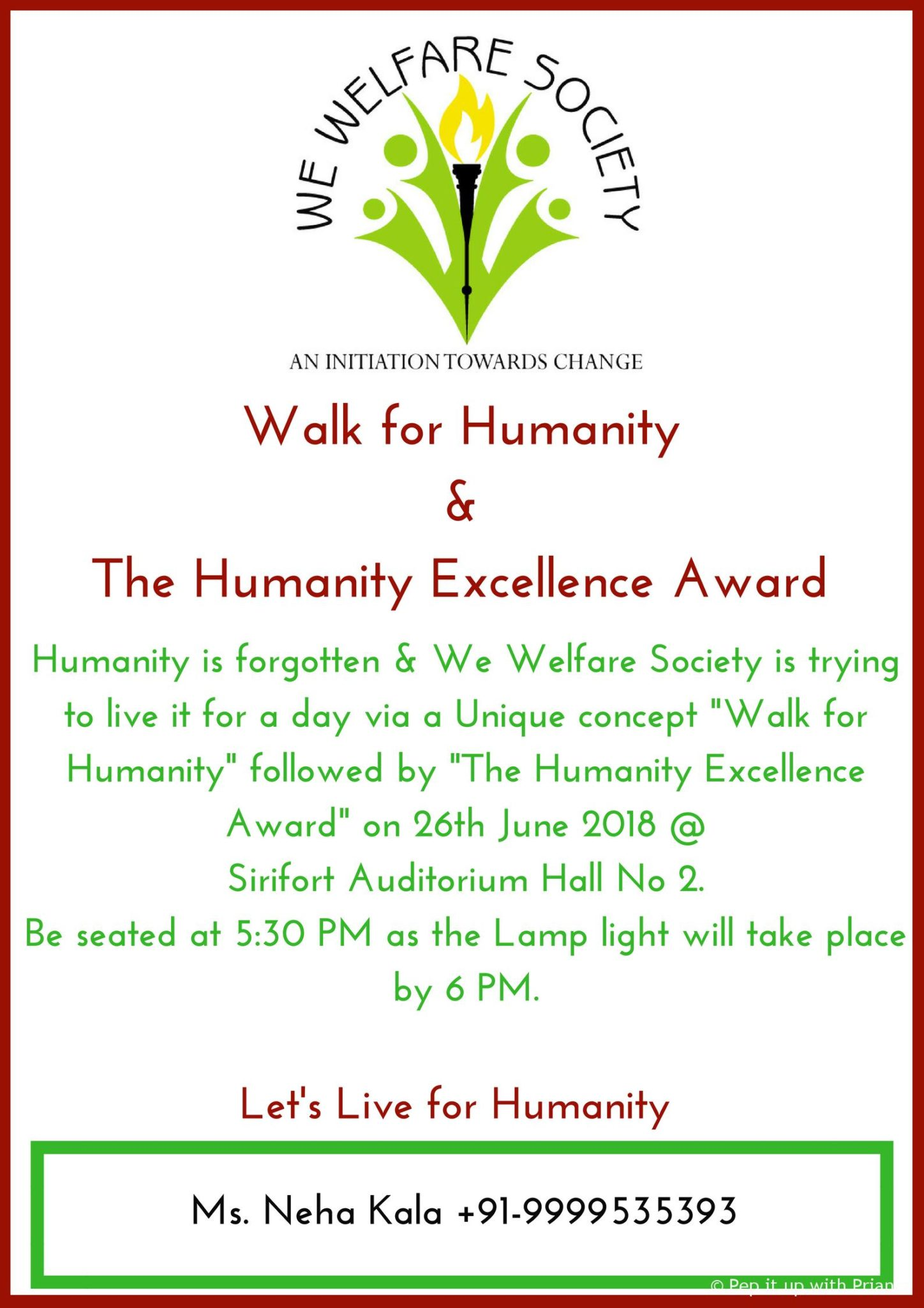 Second Album Launch 3 - We Welfare Society Presents Humanity Excellence Awards & Walk for Humanity by Ms. Neha Kala