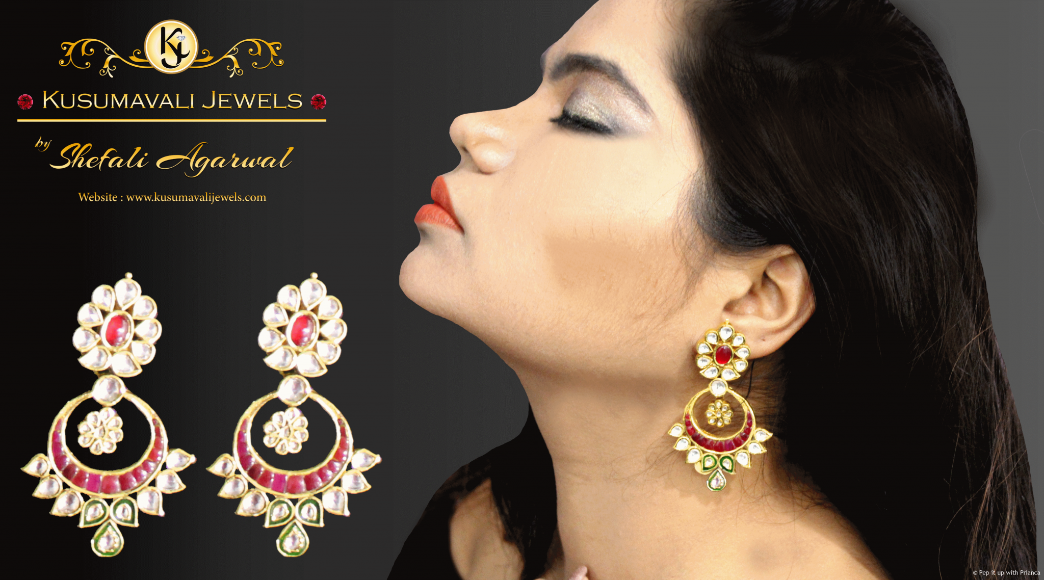 Kundan earring for wedding
